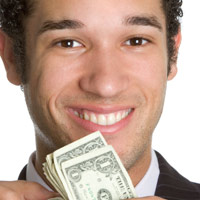 image of a successful young man holding money